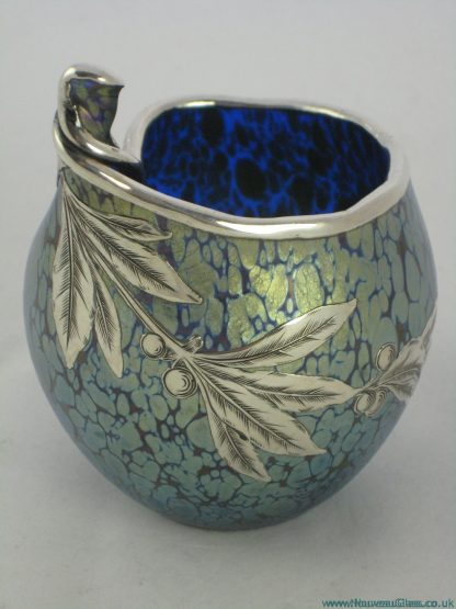 Loetz Cobalt Papillon Silveroverlay Vase Dragonfly